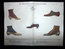Le Moniteur de la Cordonnerie 1892 Rare Hand Colored Shoe Design Print 47